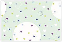 Designvorlage Herzchen grün - Umschlag