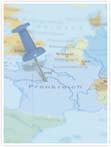 Designvorlage Landkarte Frankreich - Innenseite rechts